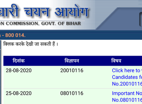 Bihar Staff Selection Commission (BSSC) Stenographer Exam 2019 Results Announced