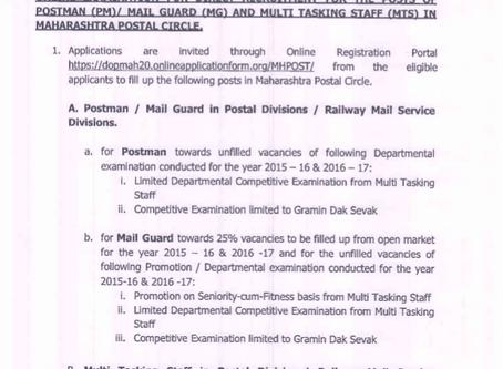 Maharashtra Postal Circle Recruitment 2020: Postman, Mail Guard & MTS vacancies