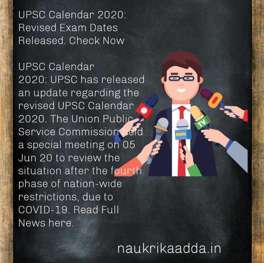 Union Public Service Commission Revised Exam Calender