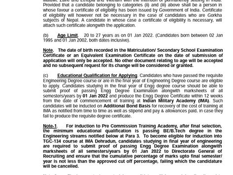 Indian Army Technical Graduate (TGC) Recruitment 2021