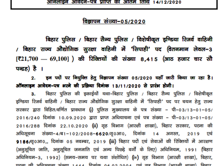 Bihar Police Constable Recruitment 2020:  8415 Male  & Female Vacancies