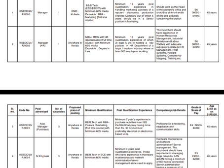 Kerala State Electronics Development (KELTRON) Recruitment 2020: Manager, Officer & Engineer Posts