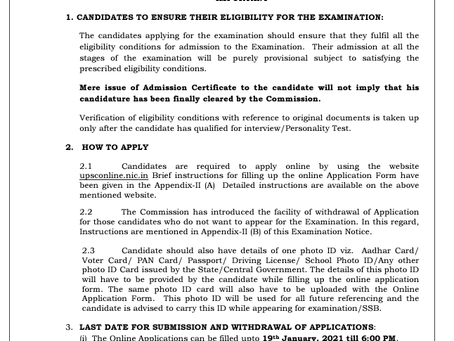 National Defence Academy & Naval Academy Examination (I), 2021: Online Application Started