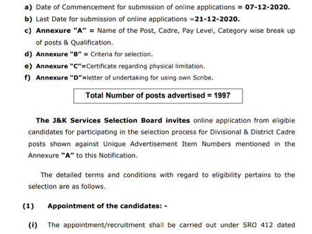 J&K Job 2020: JKSSB Recruitment. Various Posts