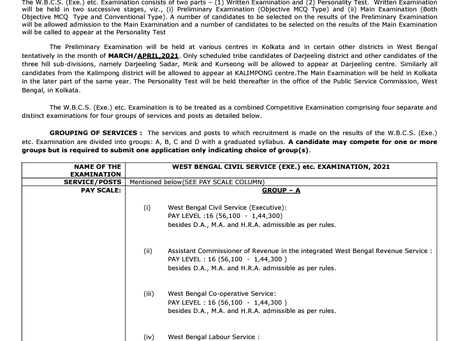 West Bengal Civil Services (WBCS) Recruitment 2020: Notification Out