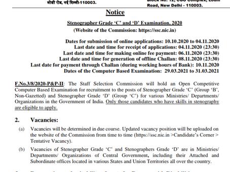 Staff Selection Commission (SSC) Recruitment 2020: Stenographer Grade 'C' & 'D' Vacancies