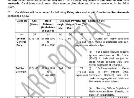 Army Recruitment Rally 2020: Rohtak, Haryana. 19-26 Nov 20. Online Registration Started