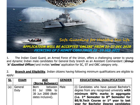 Indian Coast Guard (ICG) Recruitment 2020: Assistant Commandant Posts