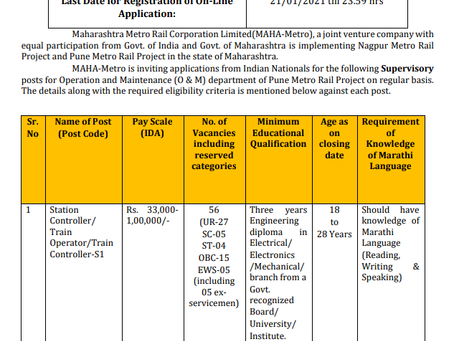Maharashtra Metro Rail Job 2020: Check Now
