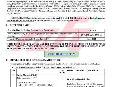 DFCCIL Junior Manager, Executive & Junior Executive Recruitment 2021: 1074 Vacancies
