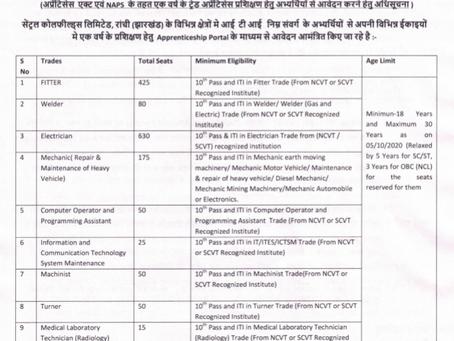 Central Coalfields Limited (CCL) Recruitment 2020 - 1565 Trade Apprentice Vacancies