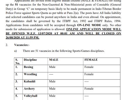 Indo-Tibetan Border Police (ITBP) Recruitment 2020 - 51 Constable (General Duty) Posts