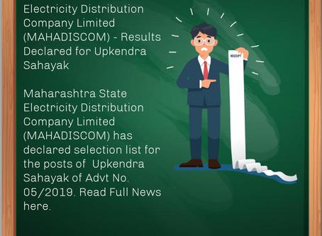 Maharashtra State Electricity Distribution Company Limited (MAHADISCOM) - Upkendra Sahayak Results