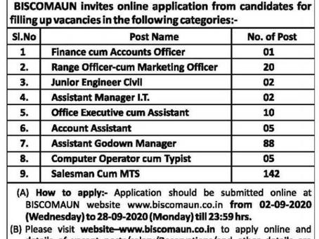 BISCOMAUN (Bihar-Jharkhand) Recruitment 2020 - 275 Various Posts