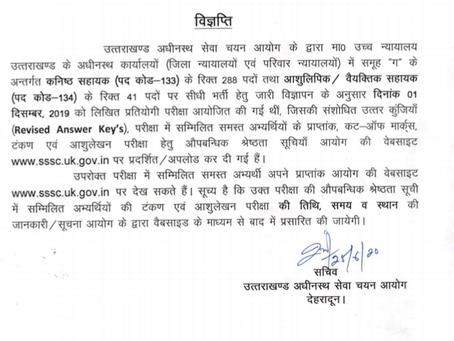 Uttarakhand Subordinate Service Selection Commission (UKSSSC) Merit List - Check Now