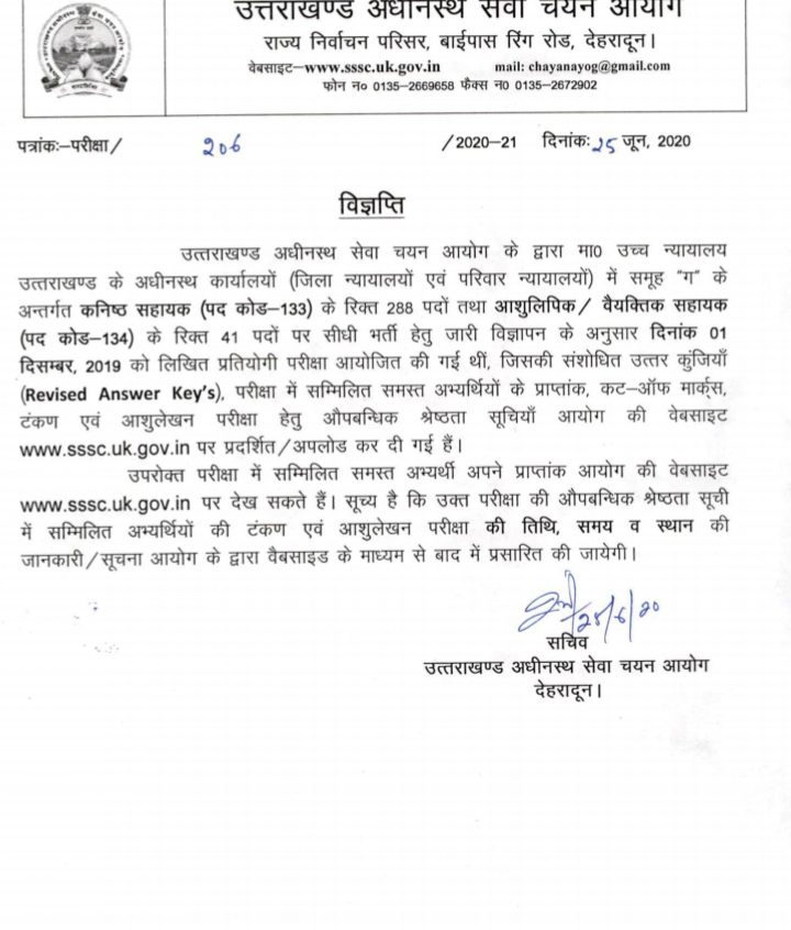 Uttarakhand Subordinate Service Selection Commission (UKSSSC) Merit List