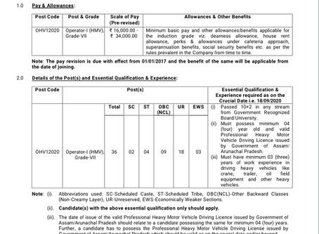Oil India Limited (OIL) Recruitment 2020 - Operator-I (HMV), Grade-VII Posts