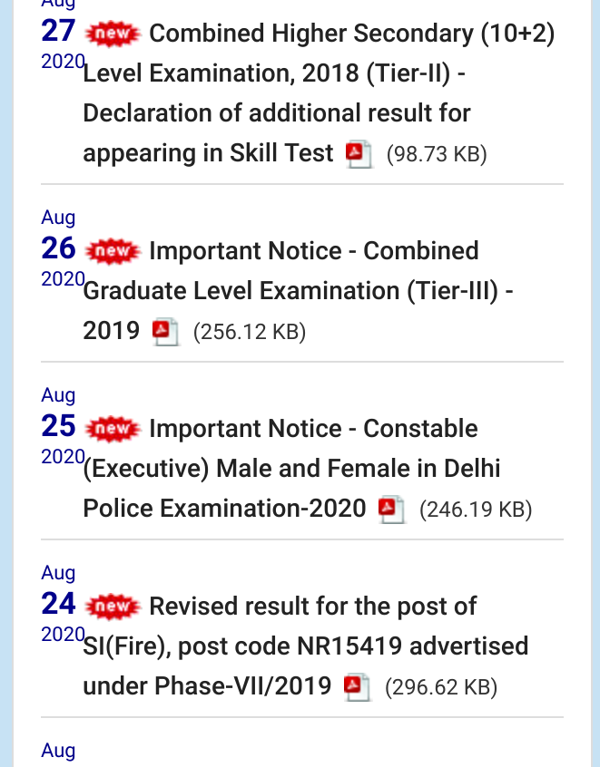 Staff Selection Commission (SSC) CHSL 2018 Result Announced. Check Now
