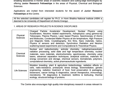 Bhabha Atomic Research Centre (BARC) JRF Vacancies 2020