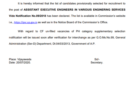 Andhra Pradesh Public Service Commission (APPSC) - Asst Executive Engineer (AEE) Results Announced