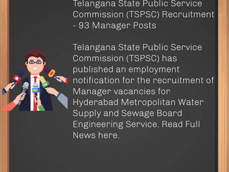 Telangana State Public Service Commission (TSPSC) Recruitment - 93 Manager Posts