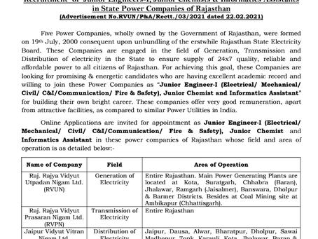 Rajasthan Rajya Vidyut Utpadan Nigam Ltd. Recruitment 2021