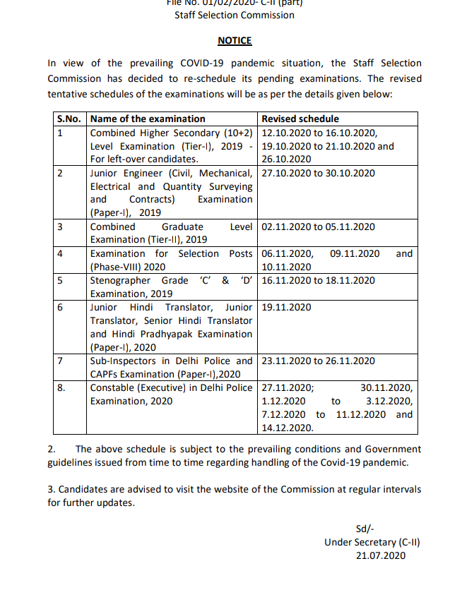 Staff Selection Commission (SSC) - Amended Exam Calender for JE, CHSL, CGL and Other Exams. Check New Dates
