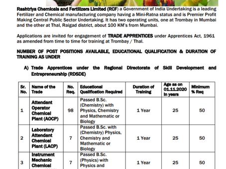 Rashtriya Chemicals & Fertilizers Limited (RCFL) Job 2020: Apprentice Vacancies