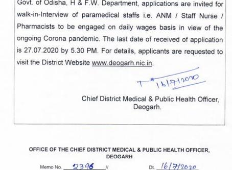 Chief District Medical & Public Health Officer (CDM & PHO) Recruitment-21000 ANM, Staff Nurse Posts