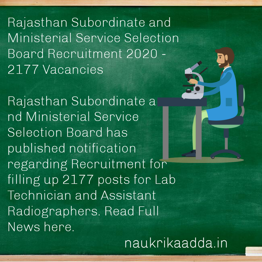 Rajasthan Subordinate and Ministerial Service Selection Board Recruitment 2020 - 2177 Vacancies