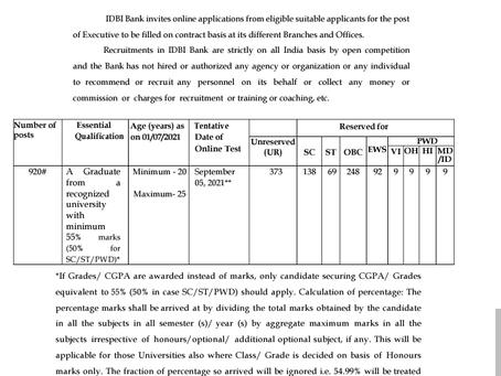 Industrial Development Bank of India (IDBI) Recruitment 2021: 920 Vacancies
