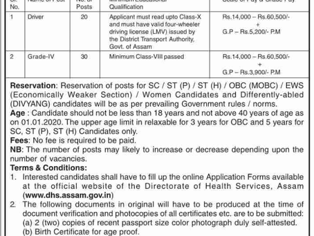 Directorate of Health Services (DHS), Assam Recruitment 2020: Driver & Grade IV Posts.