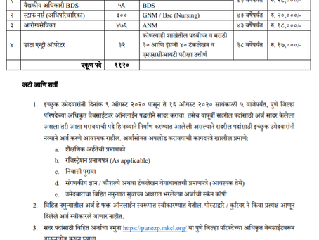Zilla Parishad, Pune Recruitment 2020 - 1120 Doctor, Nurse, Health Worker and DEO Vacancies