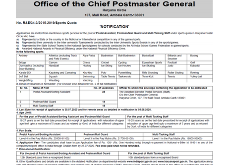 Haryana Postal Circle Recruitment 2020 - 58 Various Posts for Sports Persons