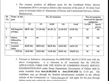 Odisha Staff Selection Commission (OSSC) CPSE Recruitment 2019:104 Vacancies