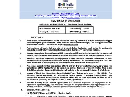 Western Railway Apprentice Recruitment 2021: 3591 Vacancies