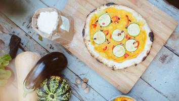 pumpkin zucchini chilli pizza