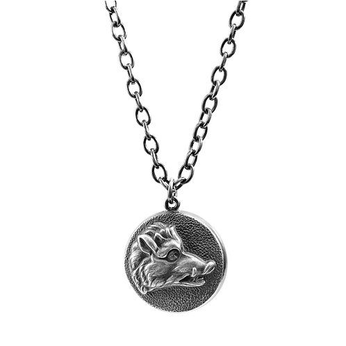 House Of Hoye Boar's Head Silver Necklace