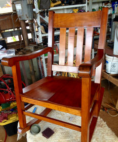ORIGINAL FINISH CLEANED & WAXED - CA 1900 HAWAIIAN KOA QUEEN ROCKER