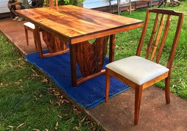1954 Hawaiian Koa table with 2 1960's chairs