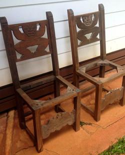 1930s Teal Hawaiian Tiki chairs