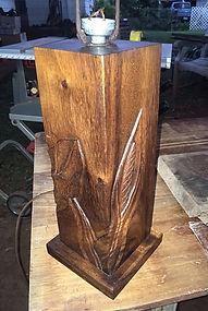 1950'S CARVED KOA LAMP
