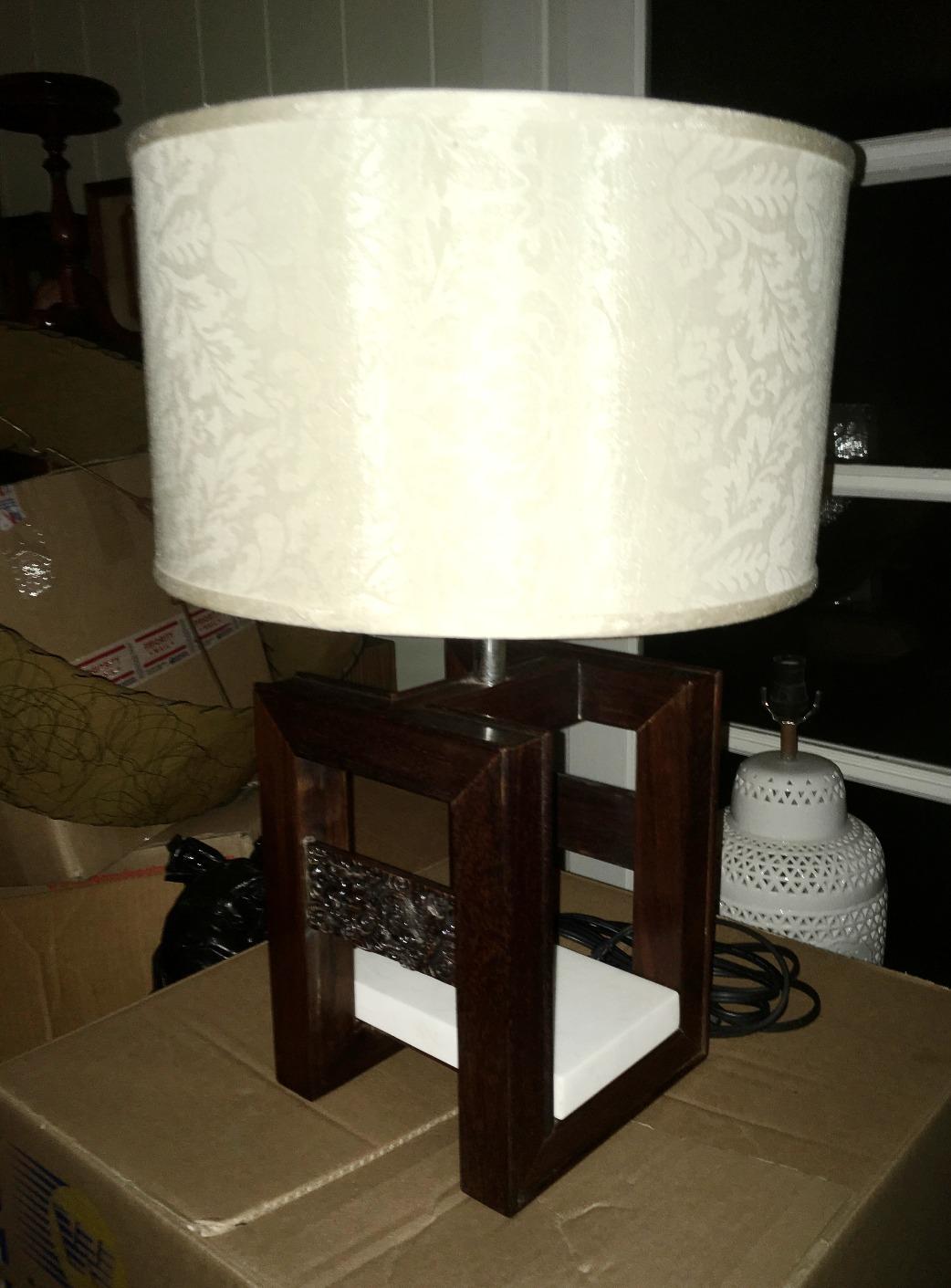 Rosewood & Bronze Dragon Lamp