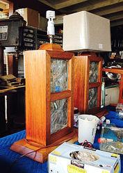 CUSTOM BUILT MAHOGANY/GLASS BLOCK LAMPS