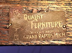 """Stickley Brothers Furniture Company Brass Tags for the 1902 """"Quaint Mission style""""line."""