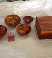 1940 Japanese Memorial Koa bowl set