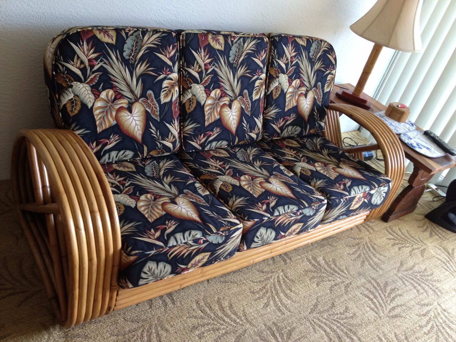 """""""SOLD"""" 1930's 6 Strand Bamboo couch"""