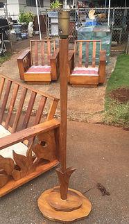 """1940's Hawaiian Koa chair with 6"""" wide armrest."""