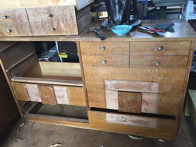BEFORE - 1950's African Mahogany Dresser