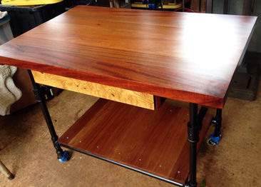 CUSTOM BUILT AFRICAN MAHOGANY PORTABLE ISLAND/KITCHEN TABLE COMPLETED